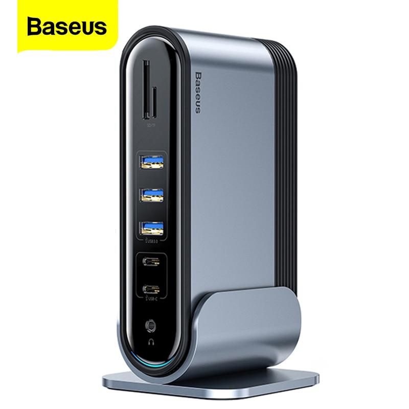 Baseus 17 في 1 USB C محور نوع C إلى متعددة 4KHD RJ45 VGA USB 3.0 PD محطة الإرساء محول الطاقة ل ماك بوك برو المحمول USB-C محور