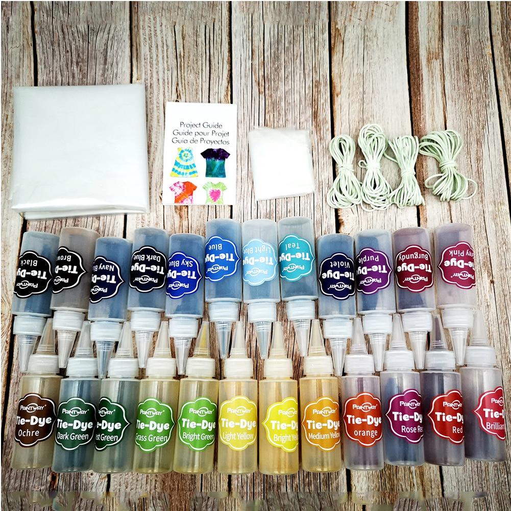 Kit de tinte de corbata para colorear trabajo manual 24 colores decoración manualidades artesanía agua fría para arte con banda de goma textil pinturas tela