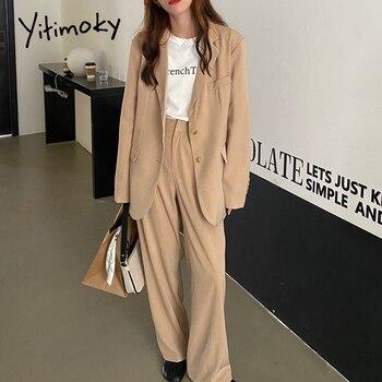 Yitimoky 2 Piece Set Women Fashion Vintage Blazer Pants Suit Elegant Long Sleeve Breasted Loose Work Jacket Spring 2021 Korean
