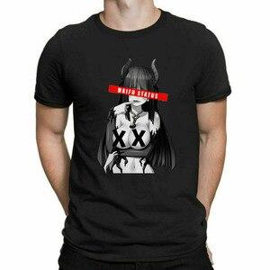 Waifu Status Ahegao Hentai Anime Senpai Japan Sugoi Cosplay Black T-Shirt Streetwear Tshirt Men Gothic Hip Hop Tshirt Men