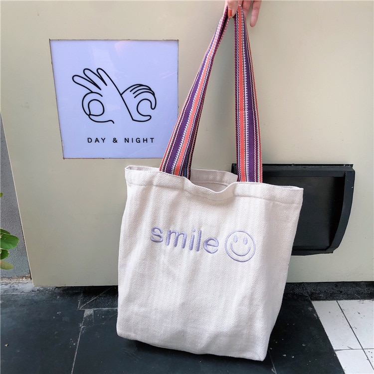 Bolso de lona con cara sonriente bordada para mujer, bolsos de compras reutilizables ecológicos de gran capacidad para mujeres, bolso de hombro para estudiantes y niñas