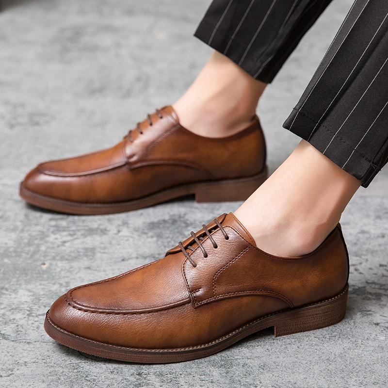 Zapatos De Vestir De cuero para Hombre, calzado Formal con cordones Oxford,...