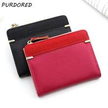 PURDORED 1 PC ผู้หญิงกระเป๋าสตางค์สี Candy น่ารักซิปกระเป๋าเหรียญขนาดเล็กธุรกิจ PU หนังผู้ถือหนังสือเด...
