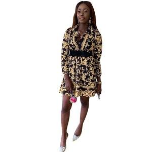 Sexy Glitter Elegant Bodycon Dress Women Long Sleeve Button Vintage 3D Print Fashion Dresses for Club Party Night