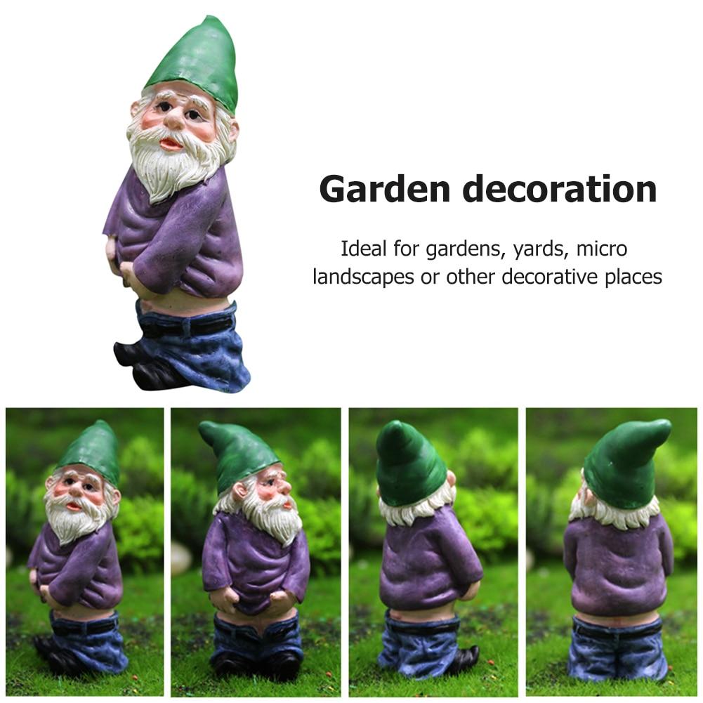 Mini Dwarf Gnome Statue Garden Courtyard Ornaments Fairy Resin Micro Landscape Outdoor Miniature Elf Figurines Handicraft