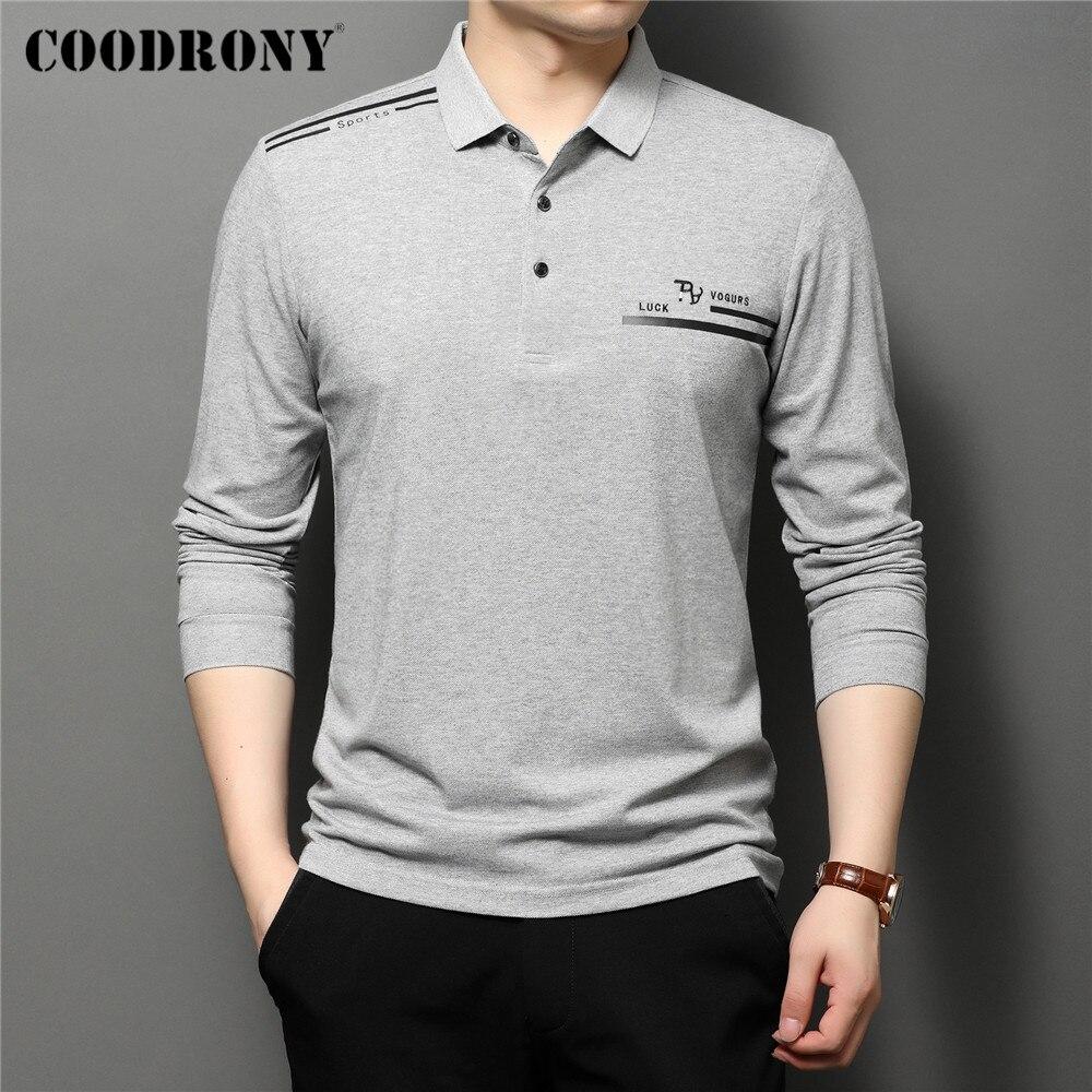 COODRONY-قميص بولو قطني للرجال ، ملابس غير رسمية ، لون نقي ، أكمام طويلة ، جودة عالية ، مجموعة ربيع الخريف الجديدة ، C5098
