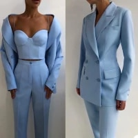 chic fashion women suits peaked lapel double breasted jacket casual 2 pieces pants blazer daily wear coat