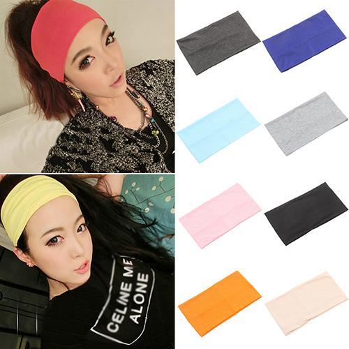 Women Candy Color Wide Yoga Headband Stretch Hairband Elastic Running Yoga Hair Bands Turban Head Wrap Scarf Hair Accessories
