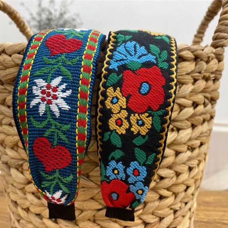 Embroidery Flower Headbands For Women korea Headband National Style Hair Accessories Colorful Hairband Head Wrap Hair Band