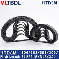 HTD 3M 300/303/306/309/312/315/318/321mm 6/9/10/15mm רוחב RubbeToothed חגורת סגור לולאה סינכרוני חגורת המגרש 3mm