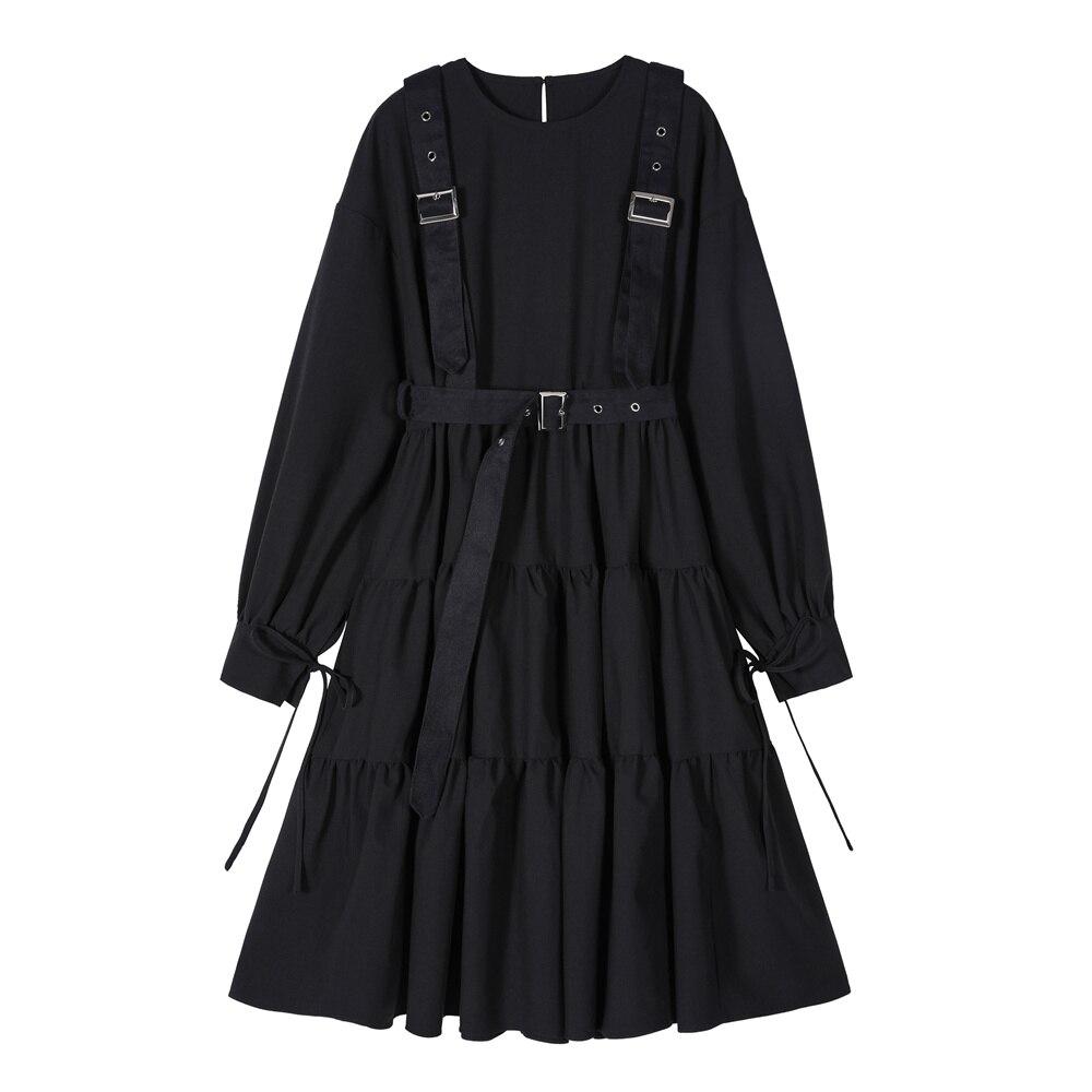Estilo gótico preto vestido longo feminino punk manga comprida rendas até vestidos midi vintage 2020 moda senhoras cosplay solto