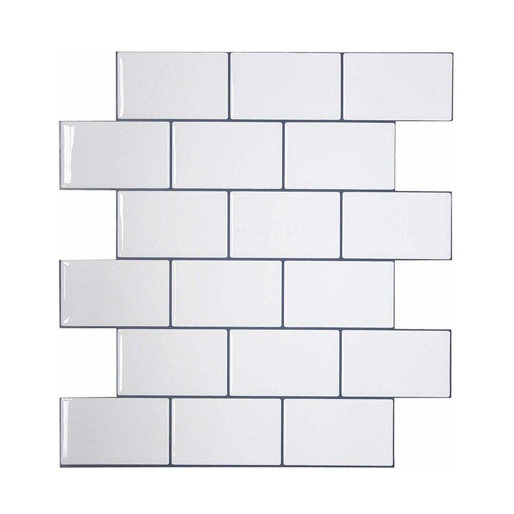 Vividtiles Thicker White Subway Tiles Peel and Stick Premium Wall Tiles Stick on Tiles Kitchen Backsplash - 5 Pieces Pack
