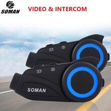 SOMAN moto Vedio caméra Bluetooth casque 1080P grand Angle objectif 1000m groupe interphone casque Bluetooth casque enregistreur