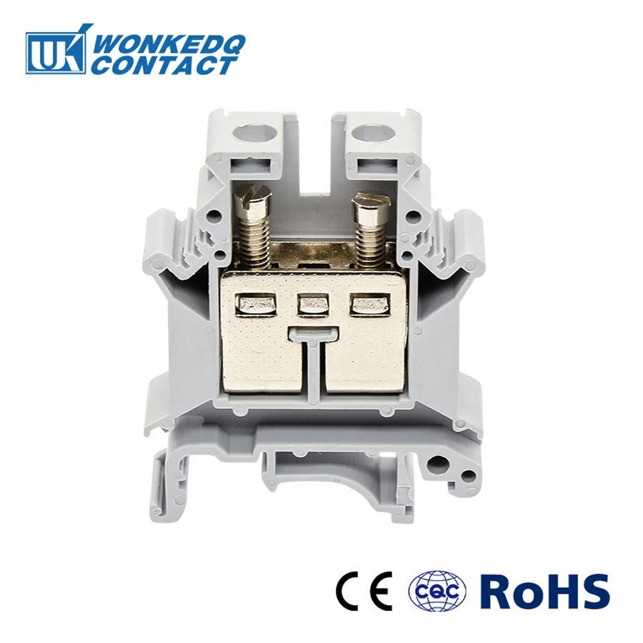 Bloques de terminales de carril DIN 10 Uds UK-16 conector Universal clase Terminal de tornillo UK16