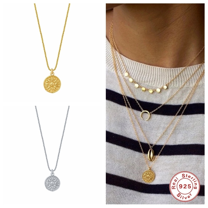 AliExpress - Aide Vintage Sun Pendant Necklaces for Women Banquet Party Jewellery Sterling Silver 925 Sunflower Gold Necklace Collare Chain