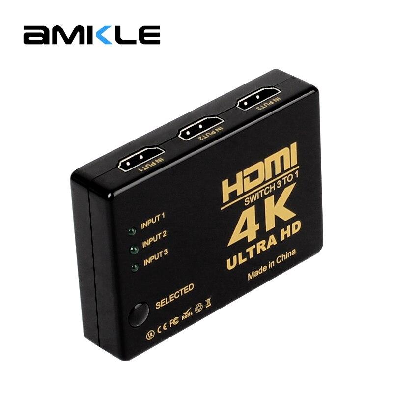 Interruptor 4 k * 2 k hdmi 3d divisor mini 3 portas switcher 3-em-1-para fora hdmi hub para dvd hdtv xbox ps3 ps4 caixa de tv latptop