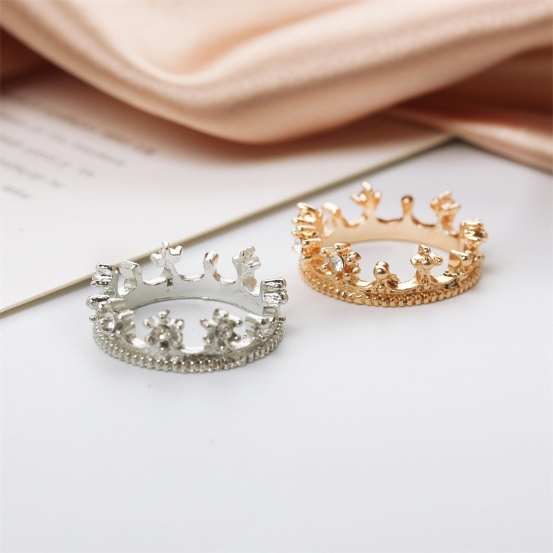 Charming Plated Cubic Zirconia Princess Crown Rings for Women Girl Setting Engagement Wedding Rings