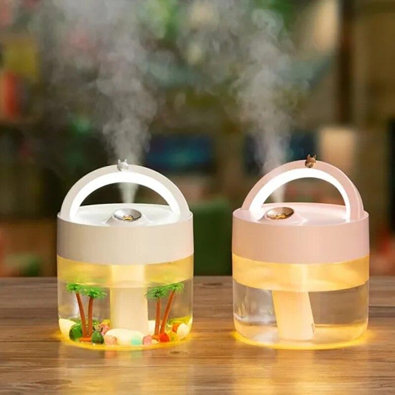 Humidificador desinfectante para escritorio, inalámbrico, recargable, con LED, neblina y líquido