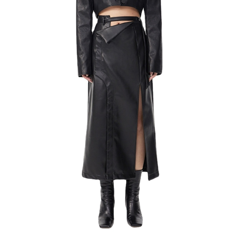 Womens Black Pu Leather Long Slit Casual Elegant Half-body Skirts High-waisted Fashion Tide New Skirt Spring Autumn 2021 Women's