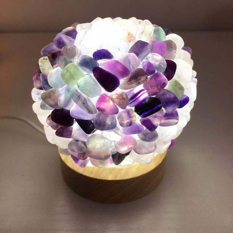 טבעי גביש אבן מנורת אמטיסט פלואוריט חצץ הידבקות קריסטל מנורת רייקי ריפוי בית תפאורה דגימת מינרלים אוסף X