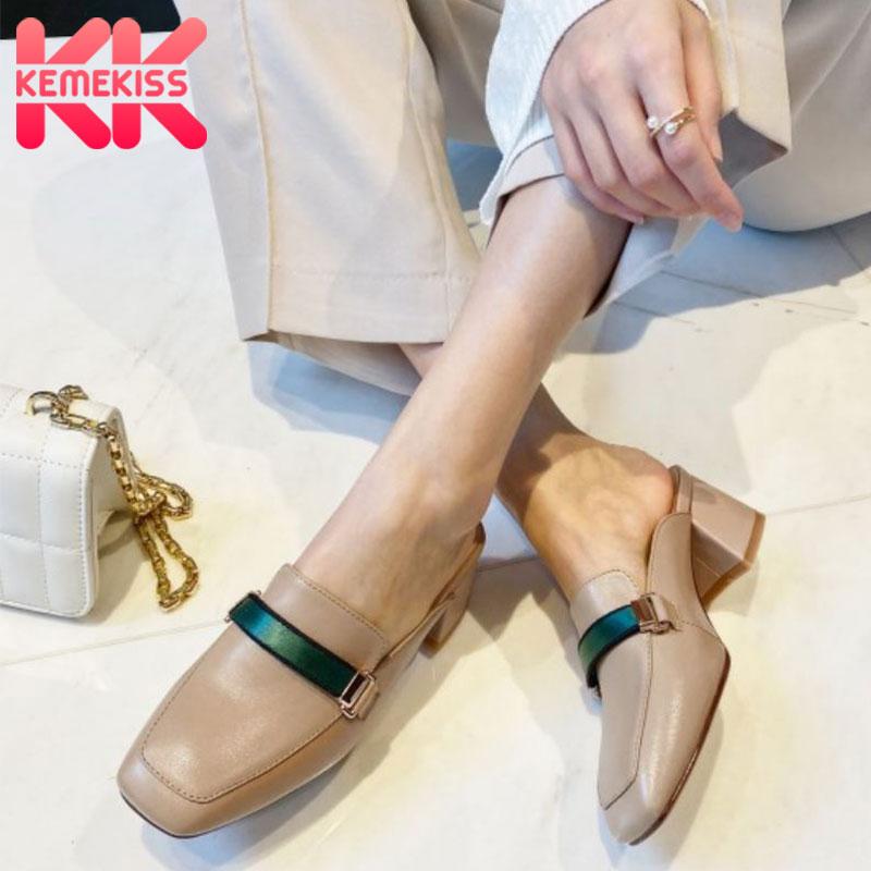 Sandalias KemeKiss para mujeres, zapatos a la moda con cordones, zapatos de punta para mujer, zapatillas gruesas con tacón alto, calzado metálico de cuero Real, talla 33 a 40
