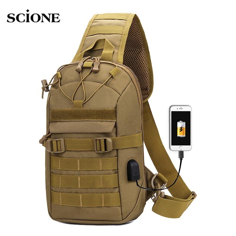 USB شحن الصدر حقيبة العسكرية التكتيكية الجيش الكتف حبال الصيد التخييم المشي لمسافات طويلة حقائب السفر واق من المطر Mochila في الهواء الطلق XA873WA