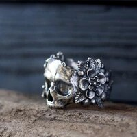 secret boy gothic mexican flower sugar skull rings women silver colour stainless steel punk flowers ring jewelry