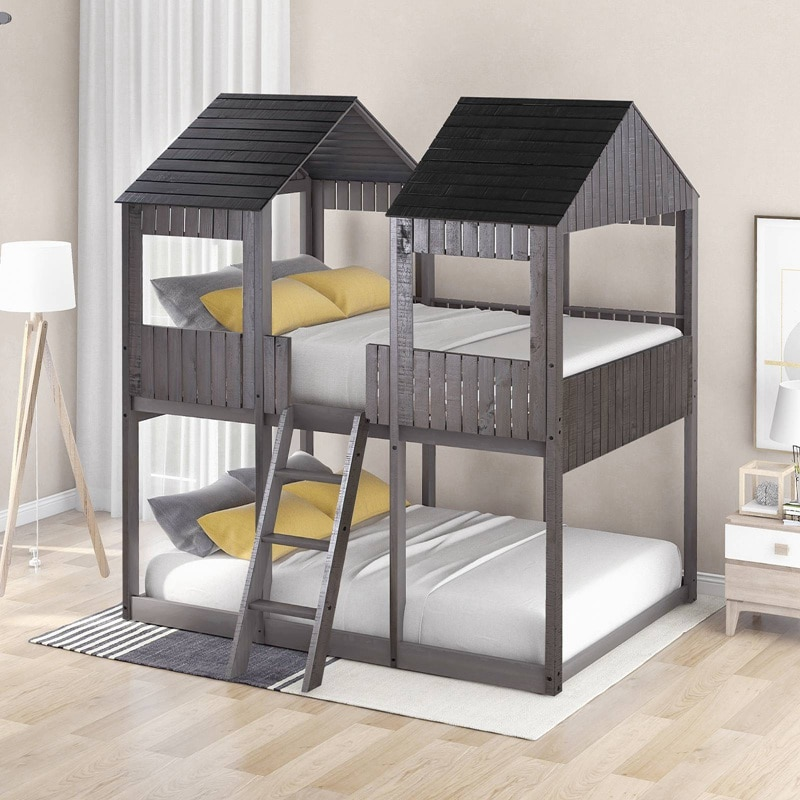 Full Over Full WoodBunk Bed With Roof, Window, Guardrail, Ladder For Kids, Teens, Girls, Boys (Gray)