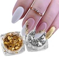 1 box aluminum foil sequins nail flakes glitter gold sliver nails irregular sticker paillettes art manicure decor accessories