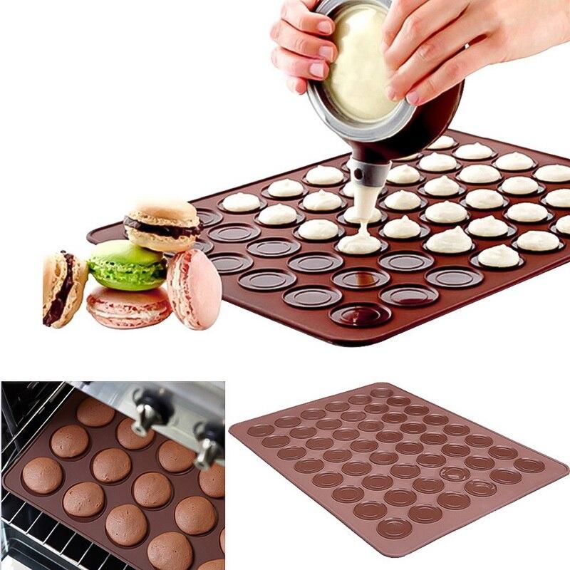 Silicona Macaron pastel horno alfombrilla con moldes para hornear no-stick DIY estera para hornear de herramientas de cocina 30/48 agujeros