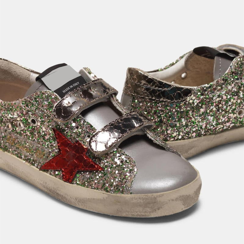 2021 Spring and Autumn New Sequined Stars Retro Old Small Dirty Children's Shoes Boys and Girls Casual Parent-child Shoes QZ10 enlarge
