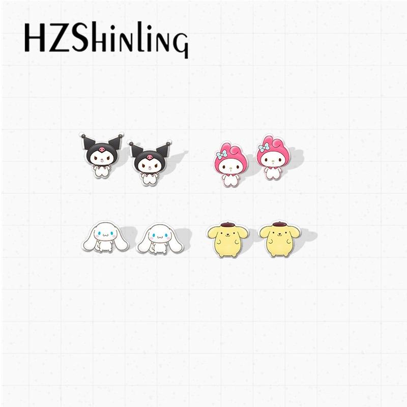2020 New Arrival Kawaii Animals Characters Cute Bunny Kitten Puppy Print Stud Earrings Kids Gifts Je