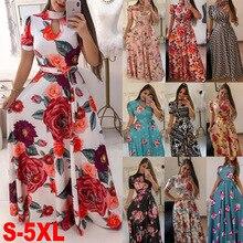 S-5XL grande taille Maxi robe de soirée mode femmes Sexy évider impression fermeture éclair robe moulante été à manches courtes robes bohème