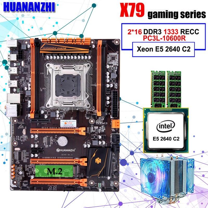 Ensamblado de ordenador HUANANZHI deluxe X79 LGA2011 de placa base CPU Xeon E5 2640 C2 RAM 32G (2*16G) DDR3 1333MHz RECC