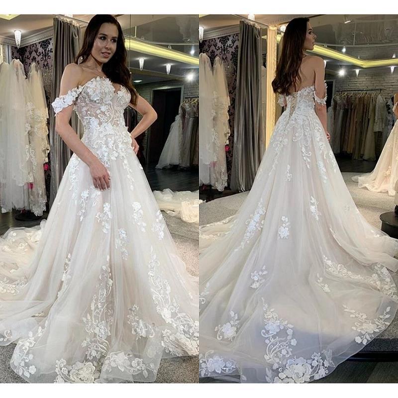 Vestidos de novia de encaje de línea A modestos, vestido blanco de...