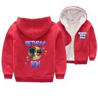 cute puppy dog pals pattern jacket kids girls plus fleece hoodie lamb wool cartoon winter warm clothing baby boys thick jacket