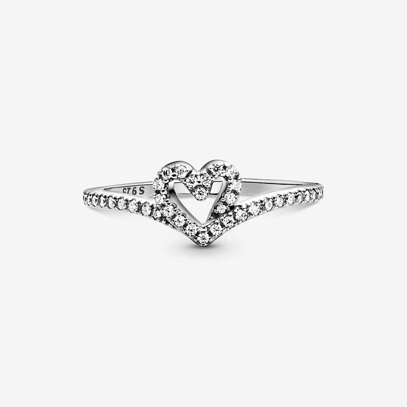 2021 Hot 925 Sterling Silver Rings Sparkling Wishbone Heart Ring Women Engagement Anniversary Original Jewelry Making