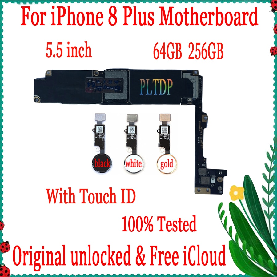 Review 100% Original Motherboard For iPhone 8 Plus Unlocked  Mainboard With/No Touch ID with IOS System  Logic Board,Good Working
