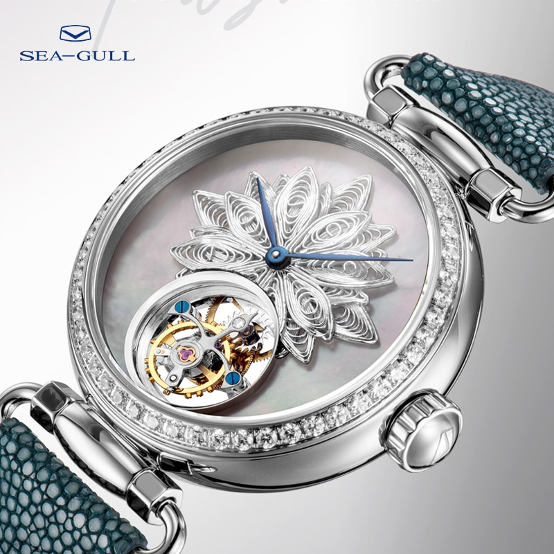Seagull tourbillon mechanical watch luxury brand ladies manual tourbillon fashion hollow watch artist series 8103L enlarge