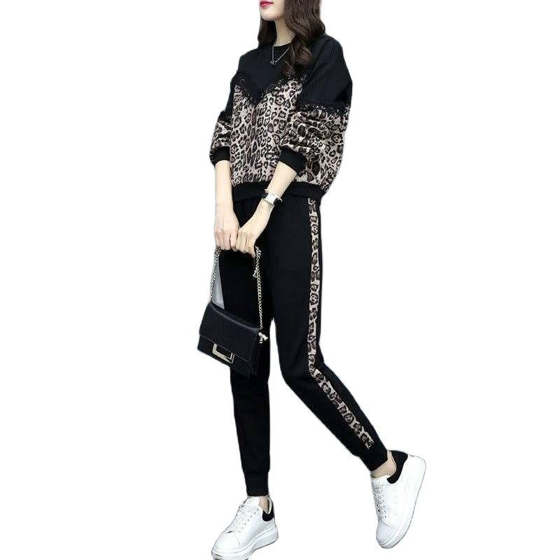 2 قطعة مجموعة النساء جديد 2021 عارضة زائد بدلة مخملية المرأة فضفاض الكورية أزياء كبيرة الحجم الرياضية طويلة الأكمام رياضية النساء