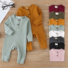 Summer Unisex Newborn Baby Clothes Solid Color Baby Rompers Cotton Knitted Long Sleeve Toddler Jumps