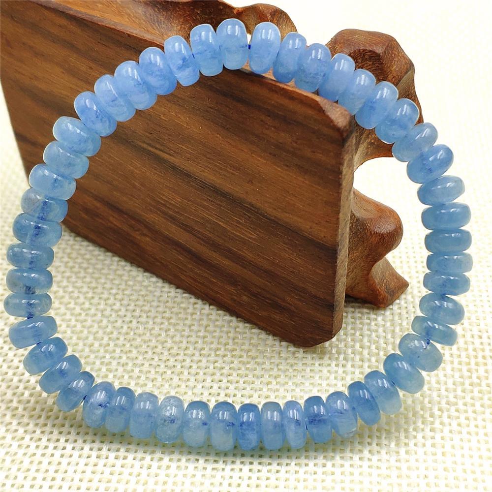 Natural azul aquamarine pulseira mulheres presente 7mm trecho cristal claro abacus contas de pedra pulseira jóias aaaaa