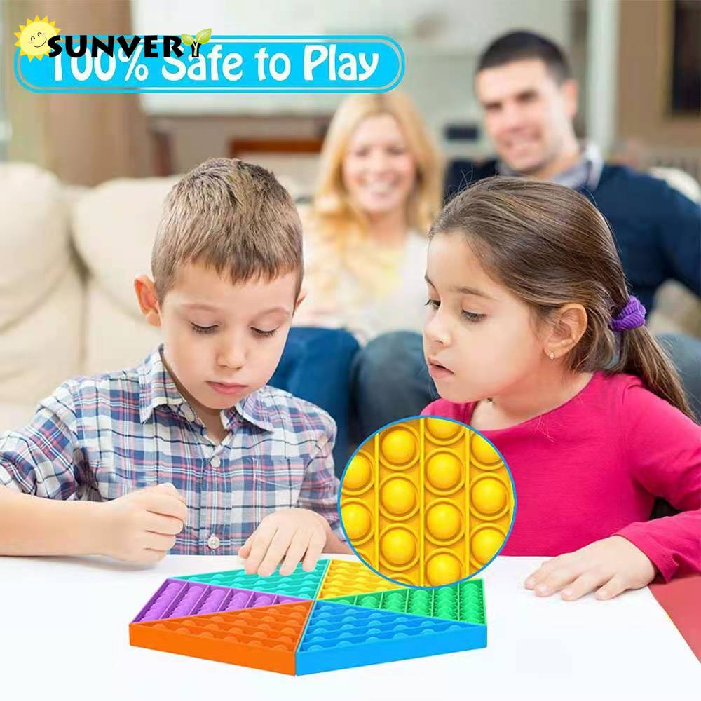 6 PCS Triangle popit fidget toy Puzzle NEW push up bubble Pack Poppit Rainbow Board Game Antistress Squishy Toys for Autism Adhd enlarge