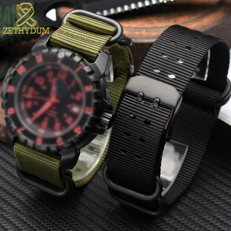 Pulseira de relógio de náilon pulseiras perlon 22mm 23mm para luminox 3051 3150 pulseira de relógio à prova dwaterproof água esporte masculino pulseiras banda