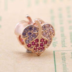 Amas Hot Sale 925 Sterling Silver Rose Gold Shining Zircon Maple Leaf Beads Fit Original Bracelet