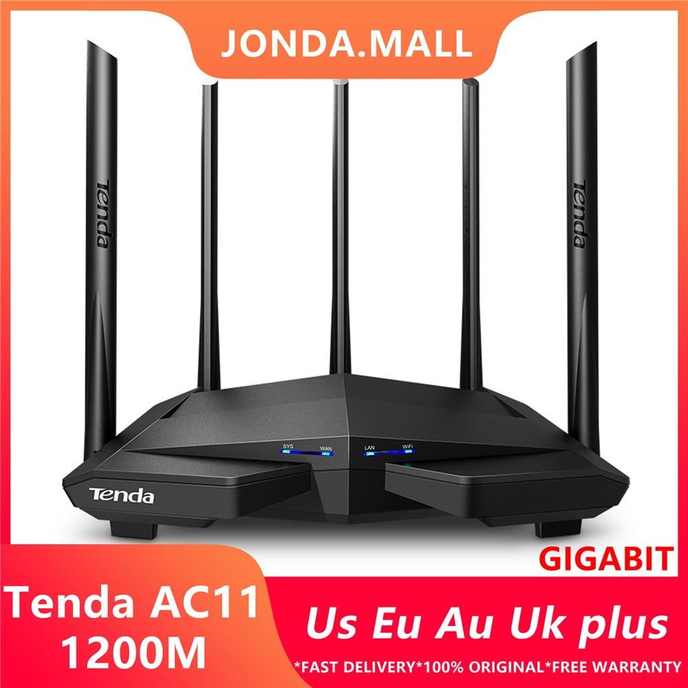 Tenda AC11 1200 Мбит/с беспроводной Wifi маршрутизатор двухдиапазонный 2,4G/5G 1 WAN + 3 LAN гигабитные порты 5*6 dbi антенна 802.11AC 1GHz CPU 128 DDR3