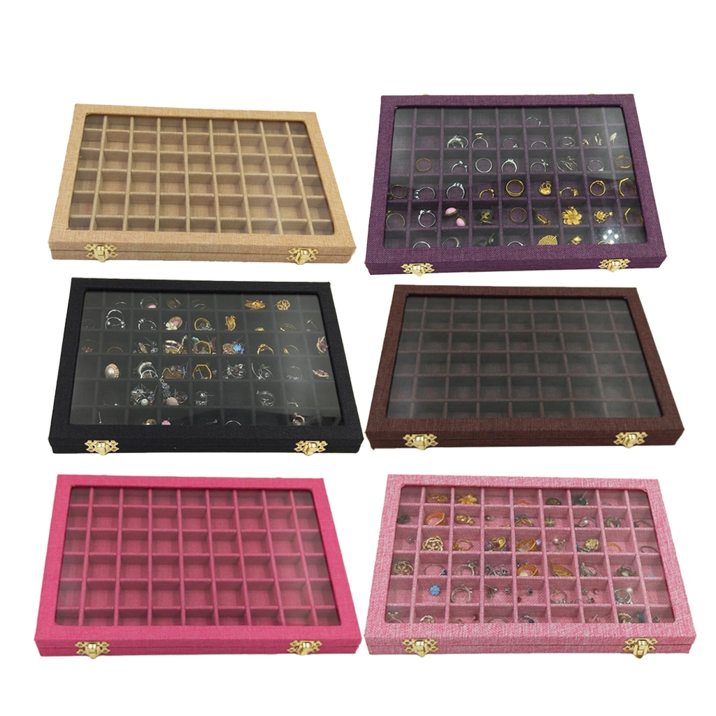 Caja de soporte para anillos con tapa de cristal transparente de 54 rejillas, Vitrina con 40 ranuras, organizador de joyería, caja de joyería para pendientes, collares, pulseras