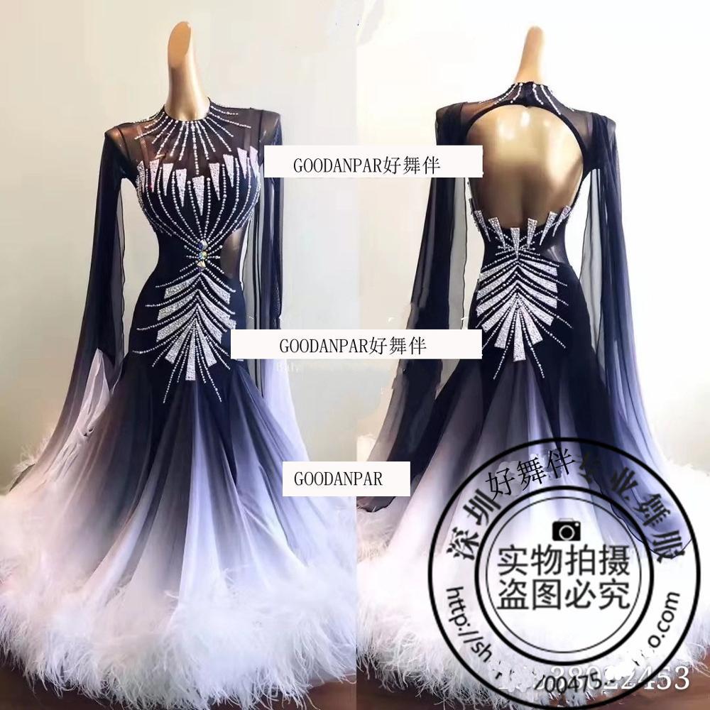 جديد! فستان رقص نسائي ، زي قاعة الرقص ، المنافسة ، قياسي ، ملابس رقص بيضاء ، قميص طويل الأكمام وريش