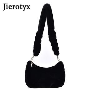JIEROTYX Soft Fur Small Shoulder Bag For Women 2020 Winter Top Trending Bags Branded Designe Black Hand Bag High Quality
