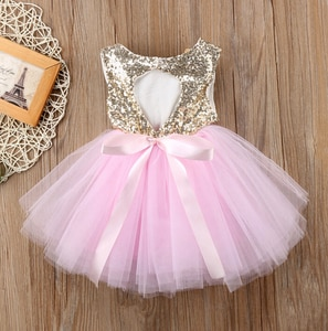 2021 Pageant Kids Baby Girl Princess Dress Tutu Tulle Back Hollow Out Party Dress Pink Red Ball Gown Formal Dresses Outfits